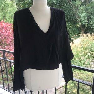 Zara black v neck blouse